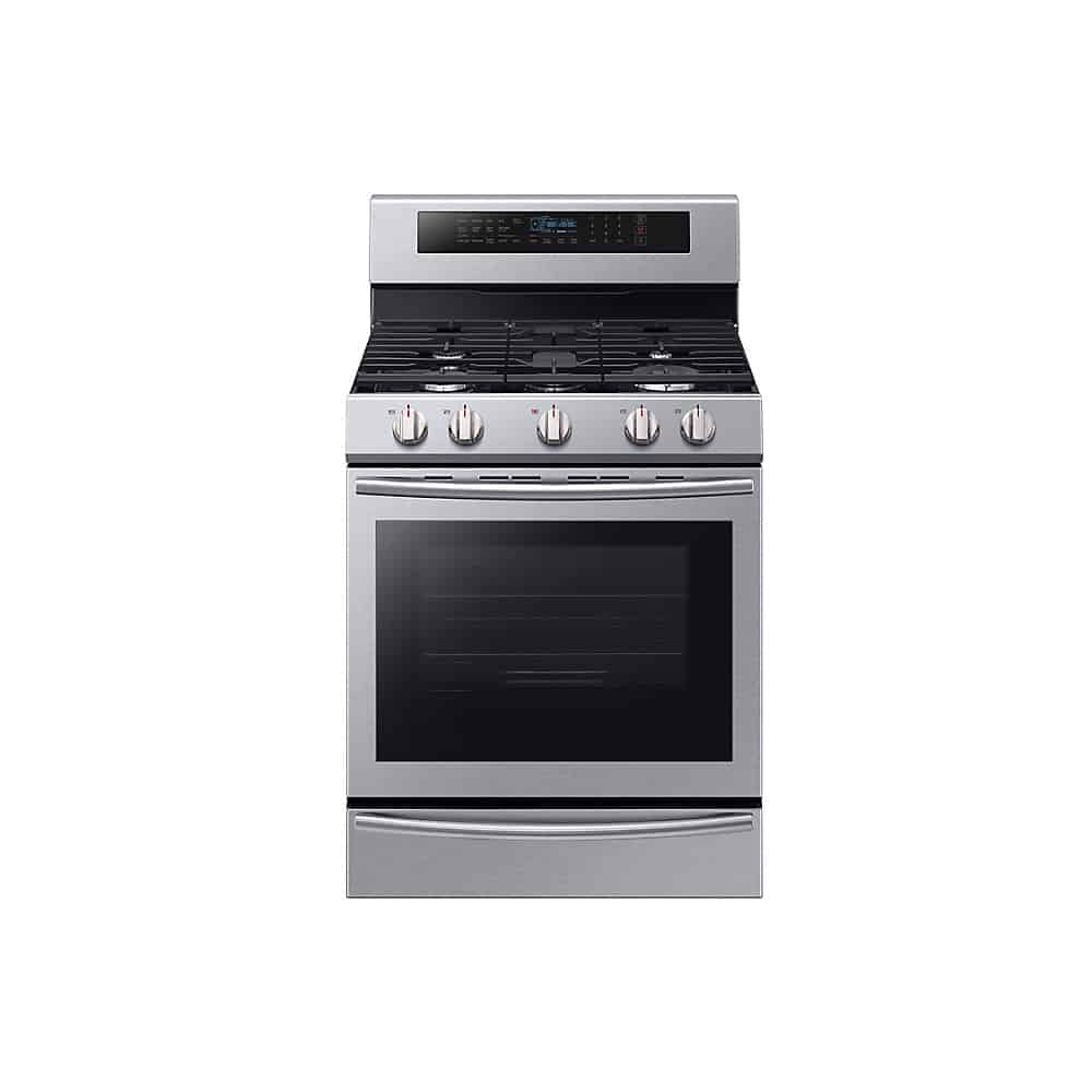 Samsung NX58M6650WS Single Oven Gas Range With Self-Cleaning Convection Oven