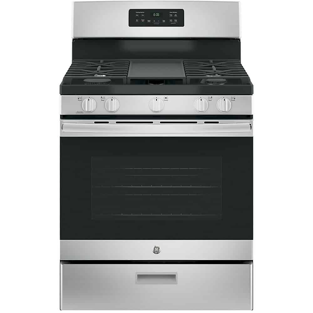 GE JCGBS66SEKSS Single Oven Gas Range With Steam Clean Oven